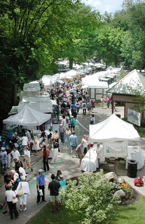 Arts Festival attendees visiting art booths